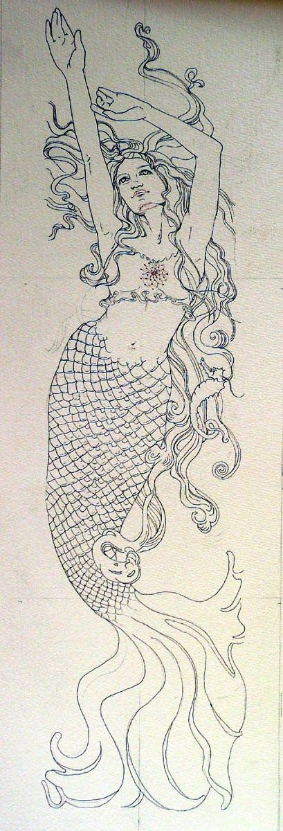 Line Drawing Mermaid : Waterwenches mermaid line drawing yo dibujo pinterest
