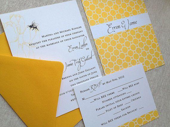 bee themed wedding invitation (by lassod moon)