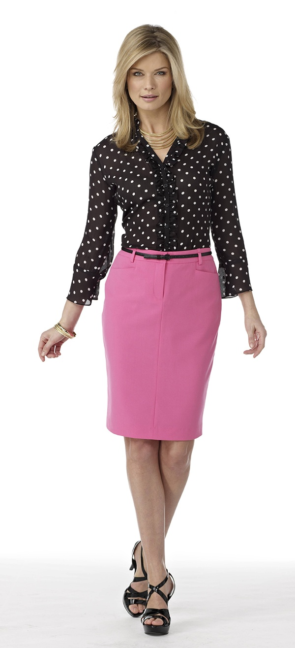 polka dot blouse with pink pencil skirt my style