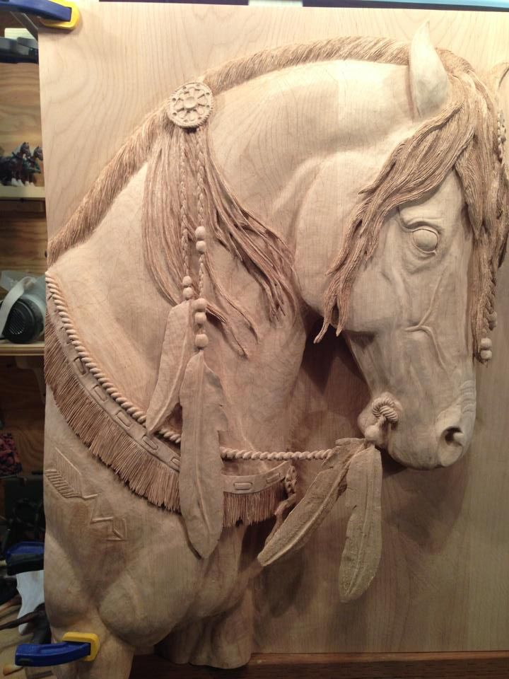 What a wood carving horses