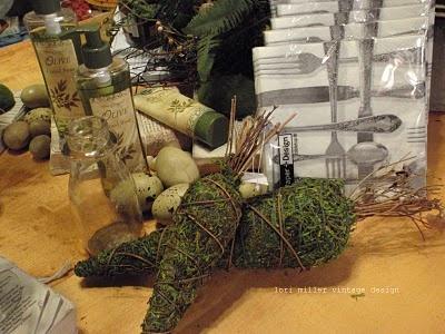 Moss carrots twig tops