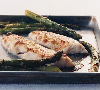 Miso-Glazed Sea Bass with Asparagus Recipe at Epicurious.com
