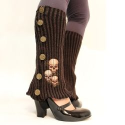 Upcycle a sweater into these super cute embroidered steampunk spats