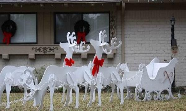 White wooden christmas yard decorations