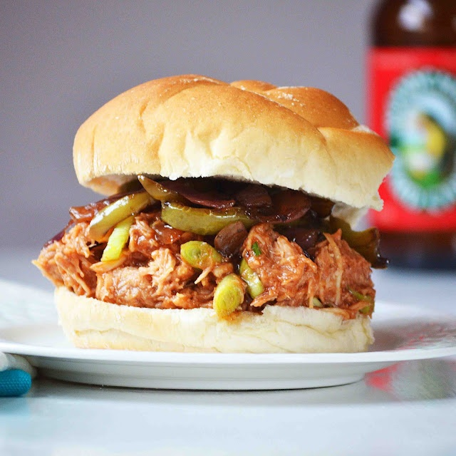 ... Pulled BBQ Chicken Sandwiches with Roasted Balsamic Onions and Peppers