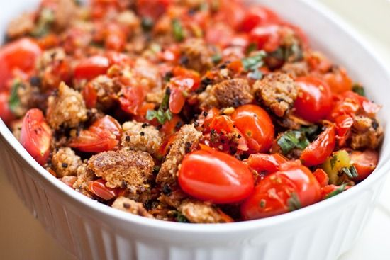 Basil Scalloped Tomatoes and Ezekiel Croutons: starts in skillet then ...