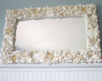 Beach Decor White Seashell Mirror - Nautical Shell Mirror,  White Rectangular w Starfish
