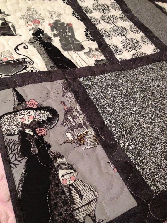 """Queen Size Quilt """"Gothic Ghastlies"""" Handmade by Kristen Symons"""