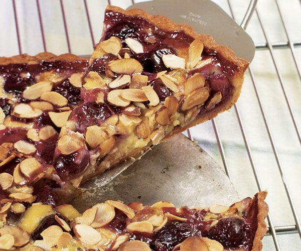Cherry Custard Tart with Sliced Almonds - almond crust; adapt idea to ...