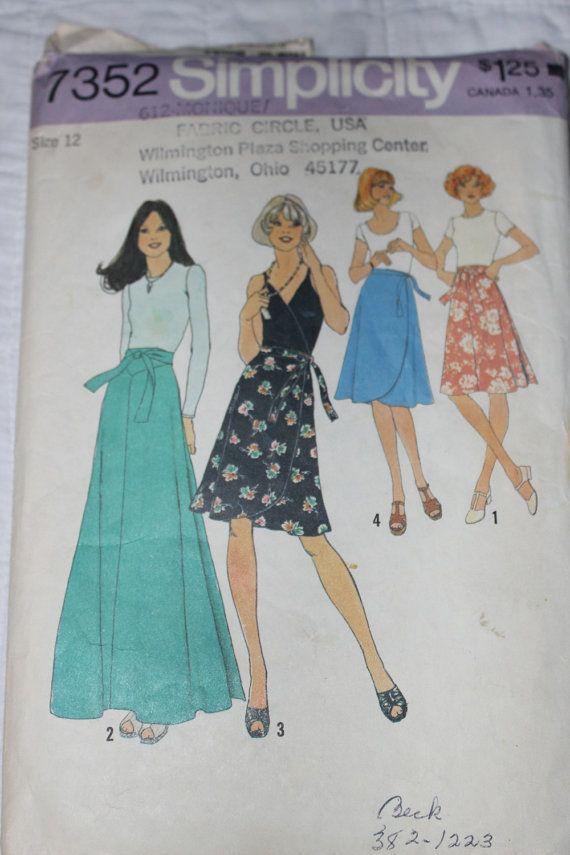 1970s maxi wrap skirt pattern simplicity 7352 misses size