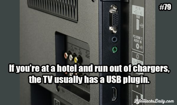 Hotel TV as phone charger