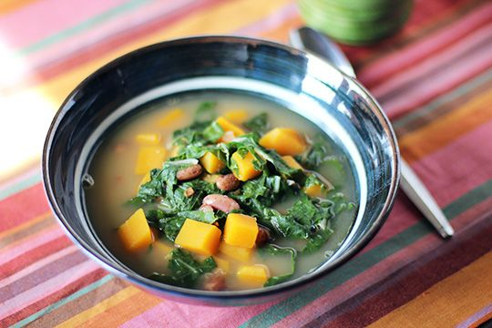 Bean, Bacon and Butternut Squash Soup with Swiss Chard from The Kitchn