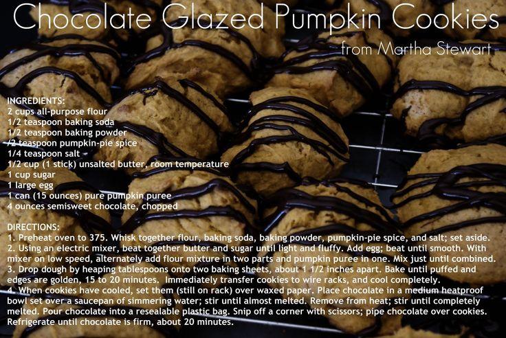 Chocolate Glazed Pumpkin Cookies | recipes - pumpkin | Pinterest