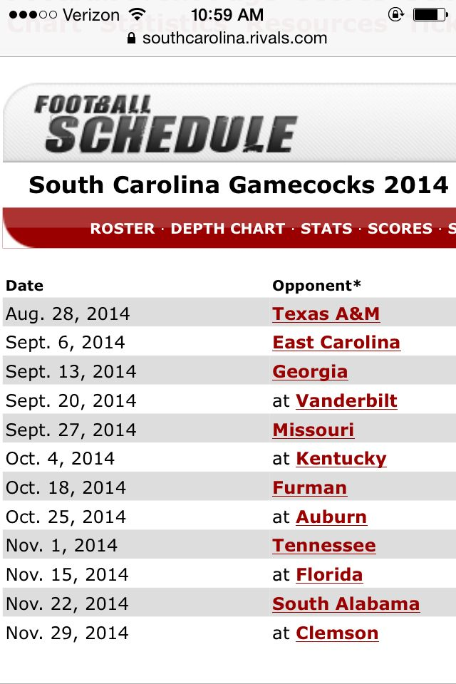 2014 USC Gamecock football schedule | USC Gamecocks ...