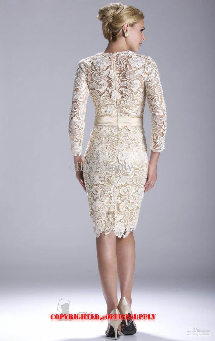 Champagne long sleeved knee length lace evening dress mother of the