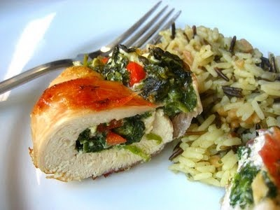 Mediterranean style stuffed chicken breasts