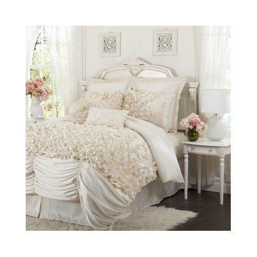 French Country Parisian Ivory White Comforter Set Shabby