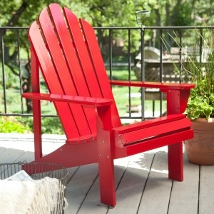 red adirondack | Front yard ideas / porch / small / simple: white flo ...