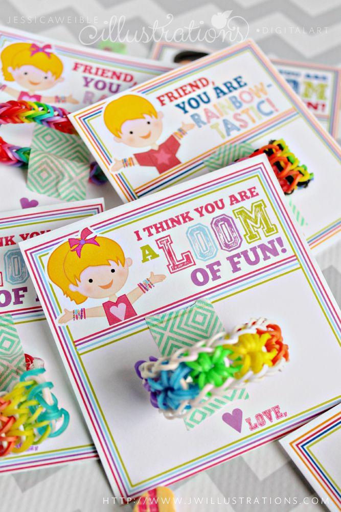 Loom Bracelet Valentine Printable Cards