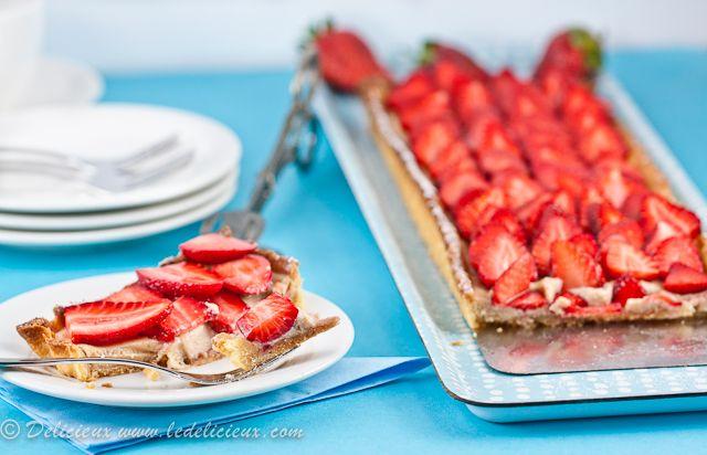 Rhubarb, Strawberry & Ricotta Tart