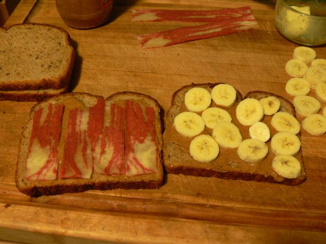 grilled peanut butter and banana sandwich with bacon. the elvis!