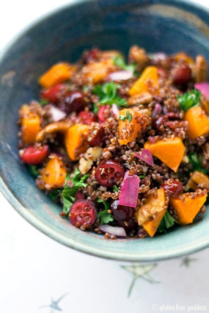 Red quinoa salad with butternut squash, cranberries and pecans