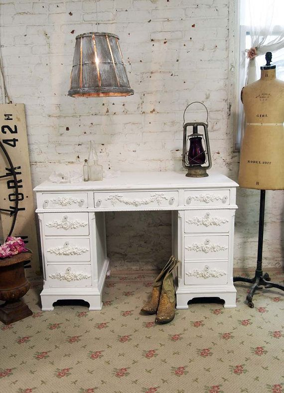 Painted Cottage Chic Shabby White Romantic Desk by paintedcottages, $325.00
