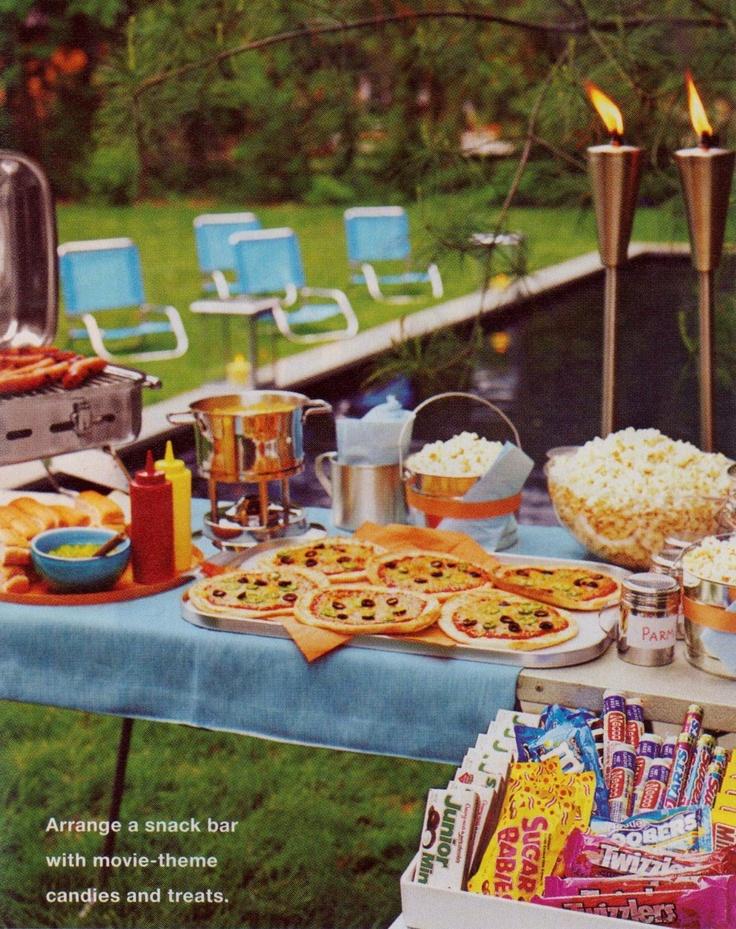 Backyard Movie Night Birthday Party Ideas : outdoor movie nightsnack set up  64 Birthday Party Ideas for