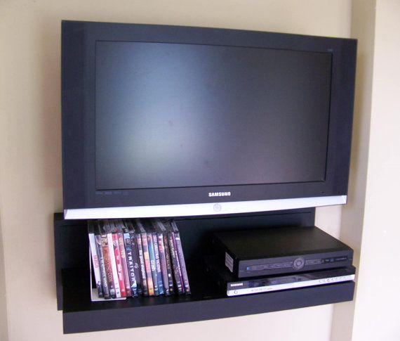floating av component shelf lcd flat tv stand in black. Black Bedroom Furniture Sets. Home Design Ideas