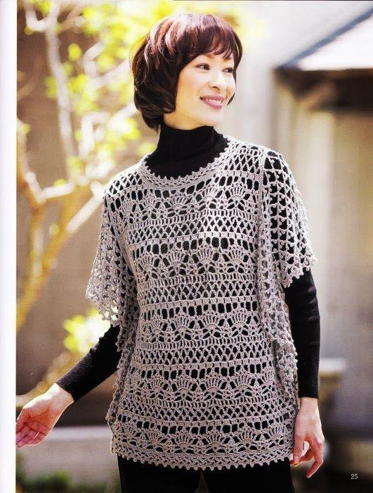 Blusas tejidas a crochet japonesas patrones gratis - Imagui
