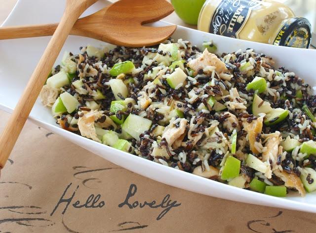 Chicken wild rice, lentil and apple salad