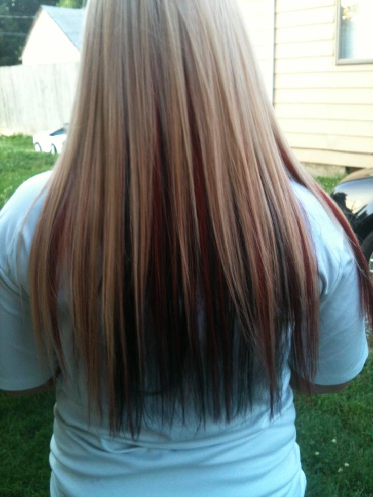 Blonde with red peekaboo and dark brown underneath!!- like ...