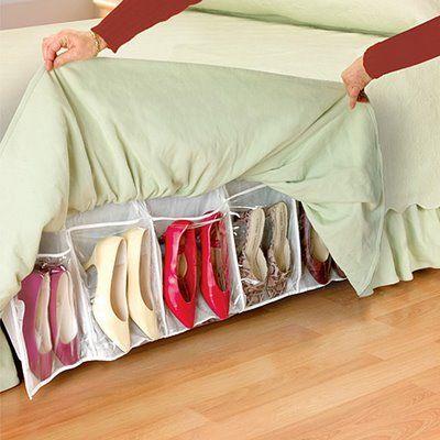 Escondidinho! O organizador de sapatos preso na cama ajuda a poupar espaço no quarto e no guarda-roupa!