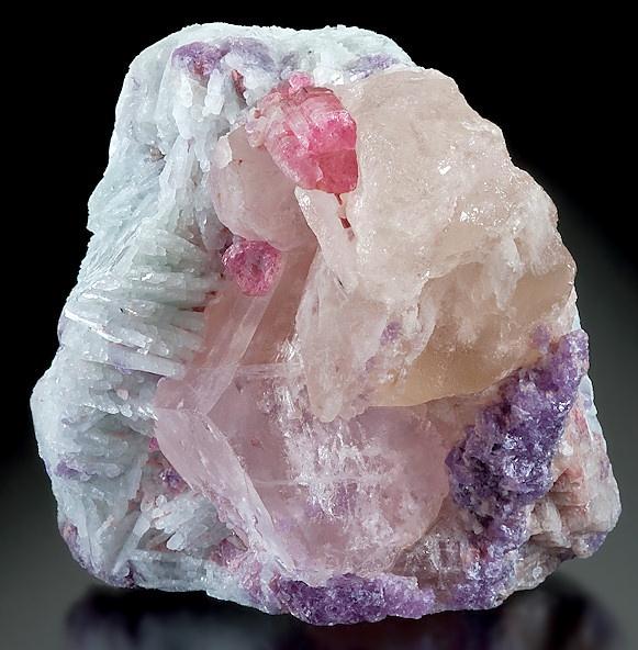 Rubellite Tourmaline, Quartz, and Lepidolite on Albite