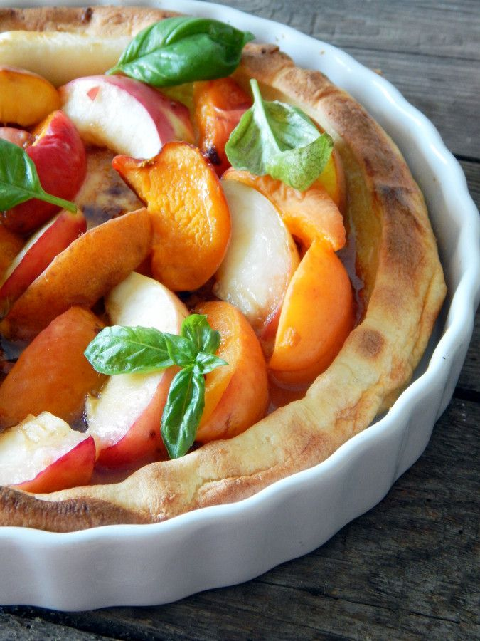 Peach and apricot Dutch baby