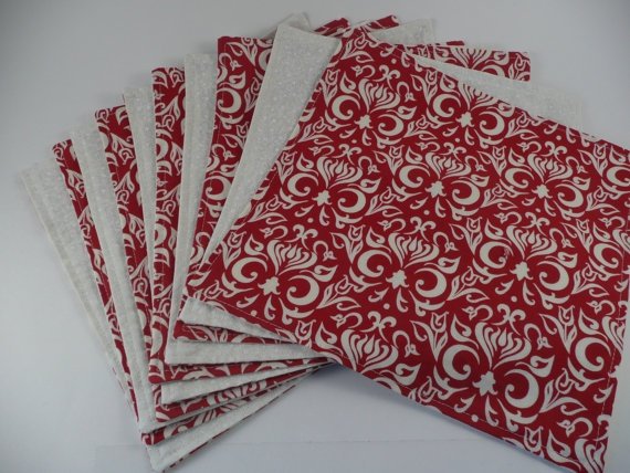 10 Christmas Everyday Cloth Napkins in Red & Ivory $50.00
