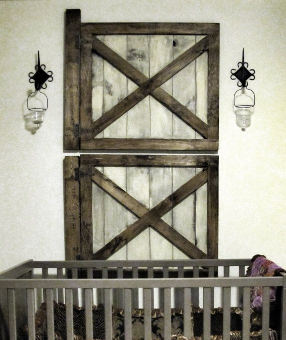 Rustic Bar Wall Decor : Custom made rustic barn door wall decor set of two