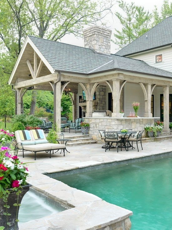 Covered Outdoor Kitchens with Pool