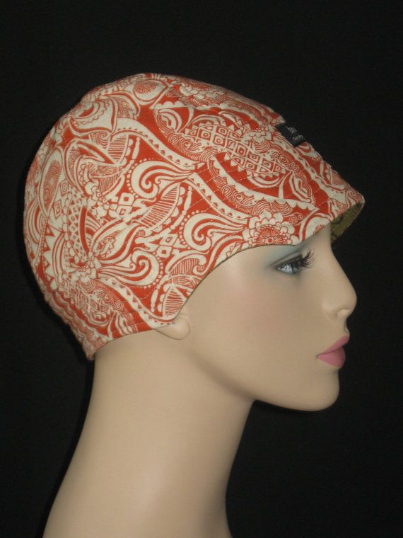 hair loss cancer hat or chemo cap cool orange paisley