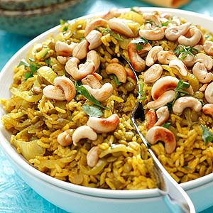Rice Pilaf with Lentils, Curried Onions & Cashews | Recipe