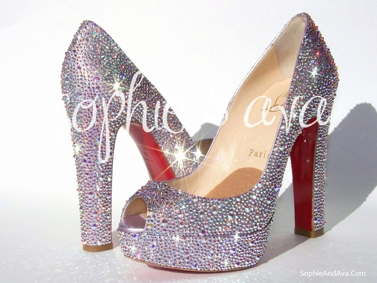 Christian Louboutin Bambou in Crystal AB Swarovski crystal shoes hand