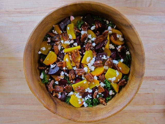 Kale and Roasted Beet Salad with Maple Balsamic Dressing | Recipe