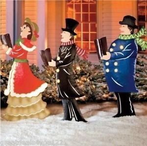 Victorian old fashioned christmas carolers yard outdoor for 59 victorian lighted black lamp post christmas decoration