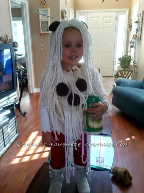 Cool homemade spaghetti and meatballs costume for a toddler this