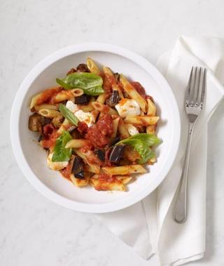 Eggplant, Basil and Mozzarella Penne