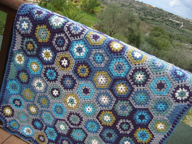 Crochet blanket made with granny squares