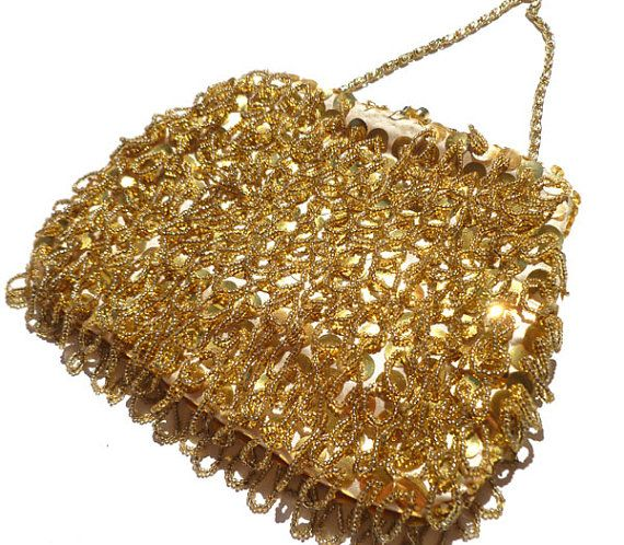 1950s Gold Beaded Purse evening bag Formal by Yesterdayand2day, $28.00