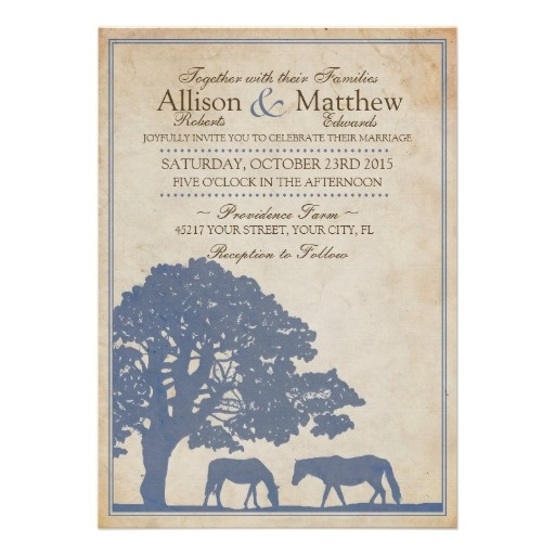 Pretty and classic equestrian vintage horse farm wedding invitation for the horse lover! Has two grazing horses in a pasture landscape under a giant oak tree in denim blue and ivory beige colors! SOO stylish, fun, and elegant for an english country wedding or barn party!