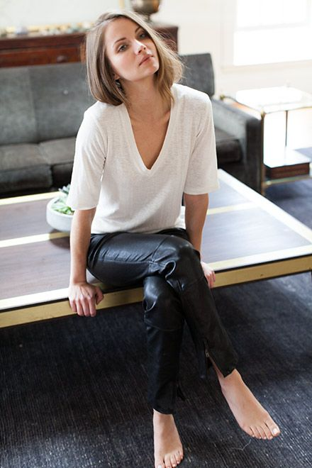 white tee with leather pants