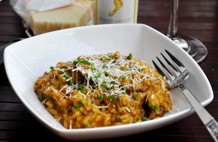 lightened Mushroom Risotto made with vegetable broth.